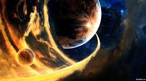 """image de synthèse représentant une planète et un météore en fusion en collision avec elle dans le"""" ciel de l'espace""""."""
