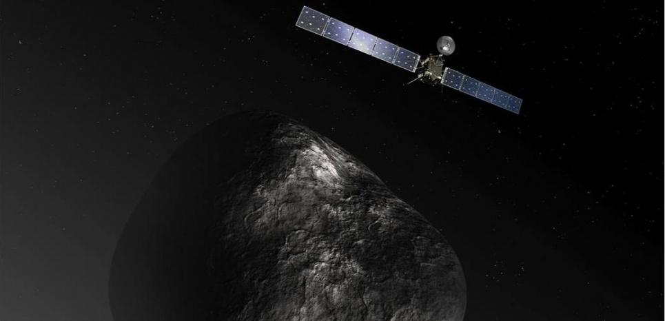 Représentation de la sonde Rosetta en orbite autour de la comète 67P/Churyumov?Gerasimenko