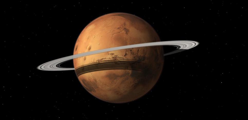Représentation artistique de Mars avec un anneau planétaire.